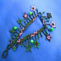 Anklet: Stars & Jingles - purple, black with green bells