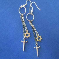 EARRINGS: WARRIOR Davidic Star & Sword