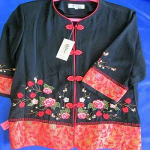 KIMONO: Asian style jacket, black & red