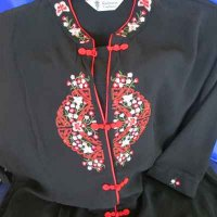 KIMONO: Asian style ladies blouse, black & red