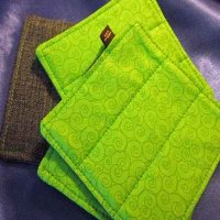 Denim Coasters: reversible - green swirl & denim