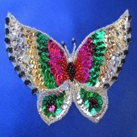 SEQUIN BEADED APPLIQUE: Colorful Butterfly
