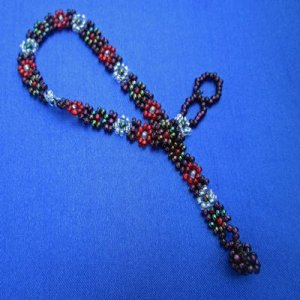 Anklet: Flowers - red, black & deep plum