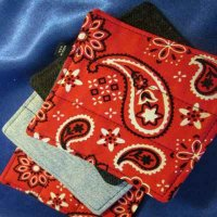 Denim Coasters: reversible - Lg. red paisley & denim