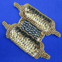 SEQUIN BEADED APPLIQUE: Torah (gold)