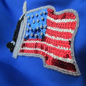 SEQUIN BEADED APPLIQUE: Old Glory [Flag]