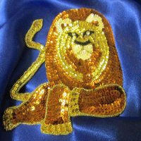 SEQUIN RHINESTONE APPLIQUE: Majestic Lion [Bronze]