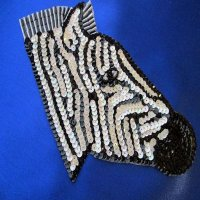 SEQUIN BEADED APPLIQUE: Zebra [large]