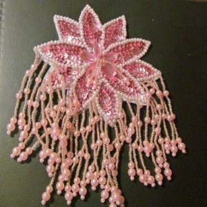SEQUIN BEADED APPLIQUE: Large Pink Flower