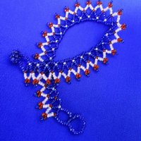 Anklet: Weave - All beads red, pink & blue