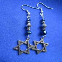 EARRINGS: Davidic Star, blue/silver beads