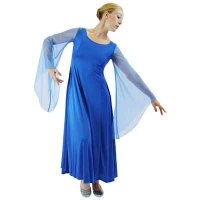 Blue Dance Dress: with chiffon angel sleeves