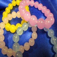 100% JADE: Beaded Bracelet, lavender, rose, yellow