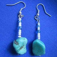 EARRINGS: Turquoise stone and seed beads