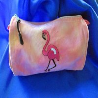 MAKE-UP BAG: 100% cotton, Pink Flamingo