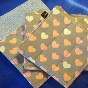 Denim Coasters: reversible - hearts & denim