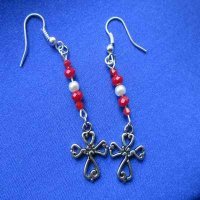 EARRINGS: Cross with red beads and pearls