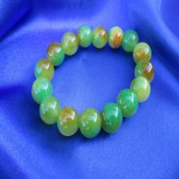 100% JADE: Beaded Bracelet-Green/Gold