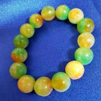 JADEITE: Bracelet - Green & Gold (10mm) beads