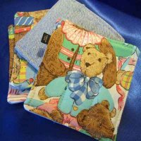 Denim Coasters: reversible - teddy bears & denim