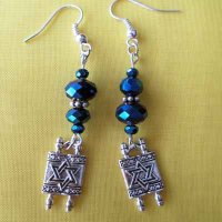 EARRINGS: Torah with Star of David, blue beads