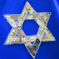 SEQUIN BEADED APPLIQUE: Davidic Star [gold & silver]