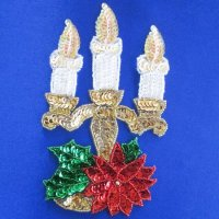 SEQUIN BEADED APPLIQUE: Christmas Candelabra