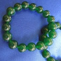 100% JADE: Beaded Bracelet - Dark Green