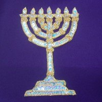 SEQUIN BEADED APPLIQUE: Menorah [Gold & Silver]