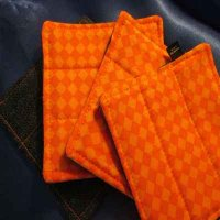 Denim Coasters: reversible - orange diamond & denim