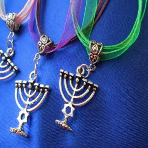 NECKLACE: MENORAH, adjustable ribbon chain