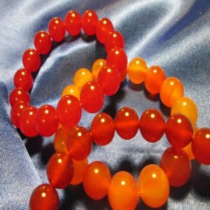 100% JADE: Beaded Bracelet - amber, orange, red