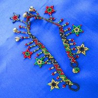 Anklet: Stars & Jingles - black, green, red & gold