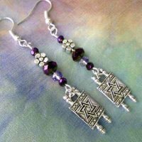 EARRINGS: Torah with Star of David, purple beads