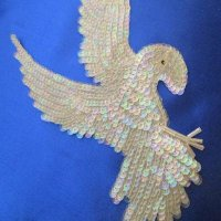 SEQUIN APPLIQUE: Eagle [white-iridescent]