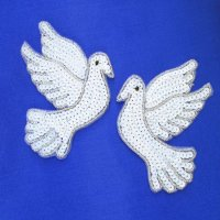 SEQUIN BEADED APPLIQUE: Doves [pair]
