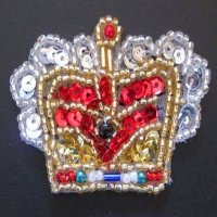 SEQUIN BEADED APPLIQUE: Colorful Crown [small]