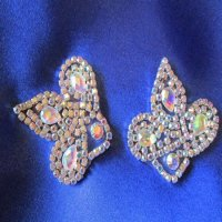 RHINESTONE APPLIQUE: Pearlized Leaf