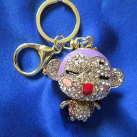 KEYCHAIN: Monkey, purple rhinestones