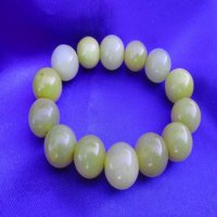 100% JADE: Beaded Bracelet-Gold/White