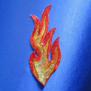 SEQUIN BEADED APPLIQUE: FIRE! [large flame]
