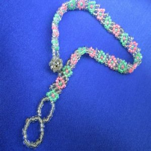 Anklet: Flowers - pink, lime green & silver