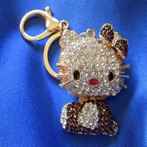 KEYCHAIN: Hello Kitty! turquoise or bronze rhinestones