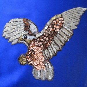 SEQUIN BEADED APPLIQUE: Eagle [brown]