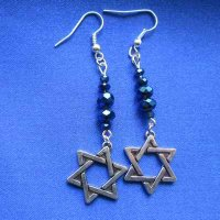 EARRINGS: Davidic Star, all blue beads