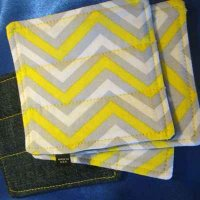 Denim Coasters: reversible - yellow zigzag & denim