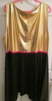OVERLAY: WARFARE - metallic gold top with black hankie skirt