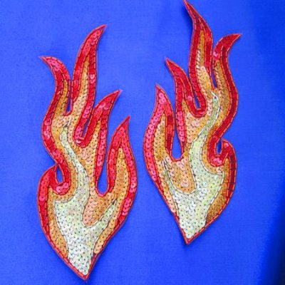 SEQUIN BEADED APPLIQUE: FIRE! [large pair] - Click Image to Close