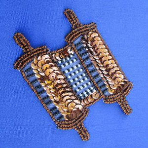SEQUIN BEADED APPLIQUE: Torah [bronze]