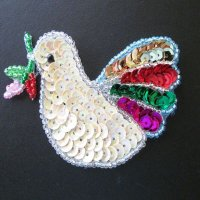 SEQUIN BEADED APPLIQUE: Creamy Dove